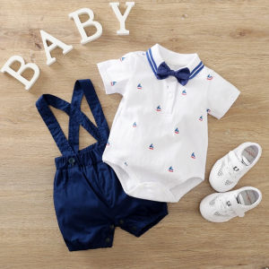 Dungaree Set With Bow Tie Boat