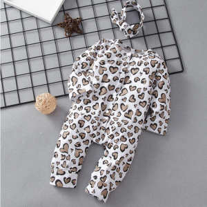 Leopard Heart Jumpsuit With Headband